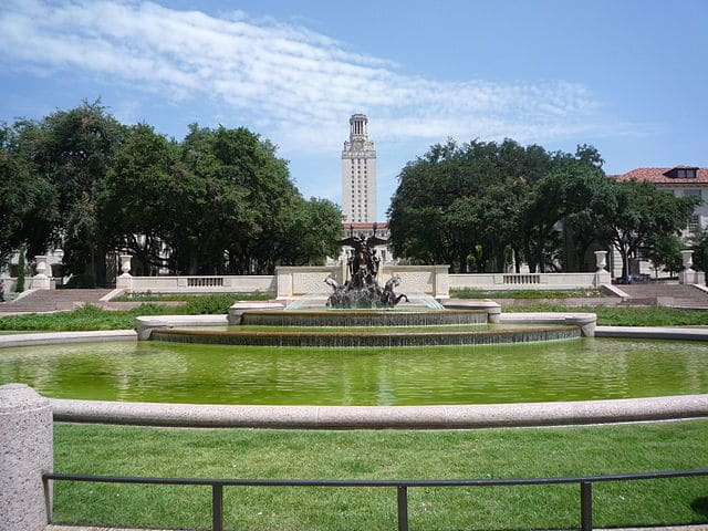 World War I memorial monument and fountain inside the University of Texas - Austin