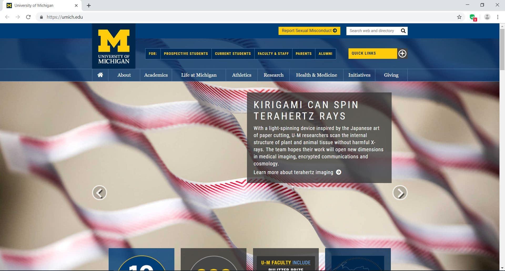 official website of University of Michigan – Ann Arbor