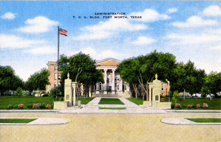 postcard featuring the old administration building of the TCU