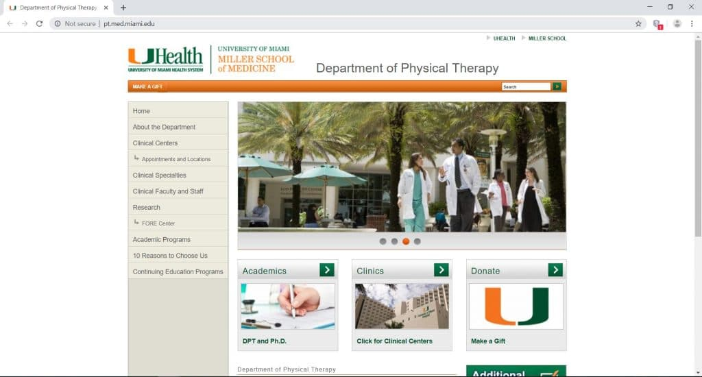 webpage dedicated for the department of physical therapy in University of Miami health system