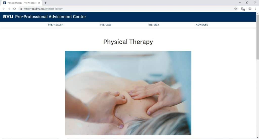 webpage for the BYUs Pre-Professional Advisement Center