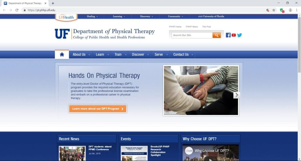 webpage for the department of physical therapy in University of Florida