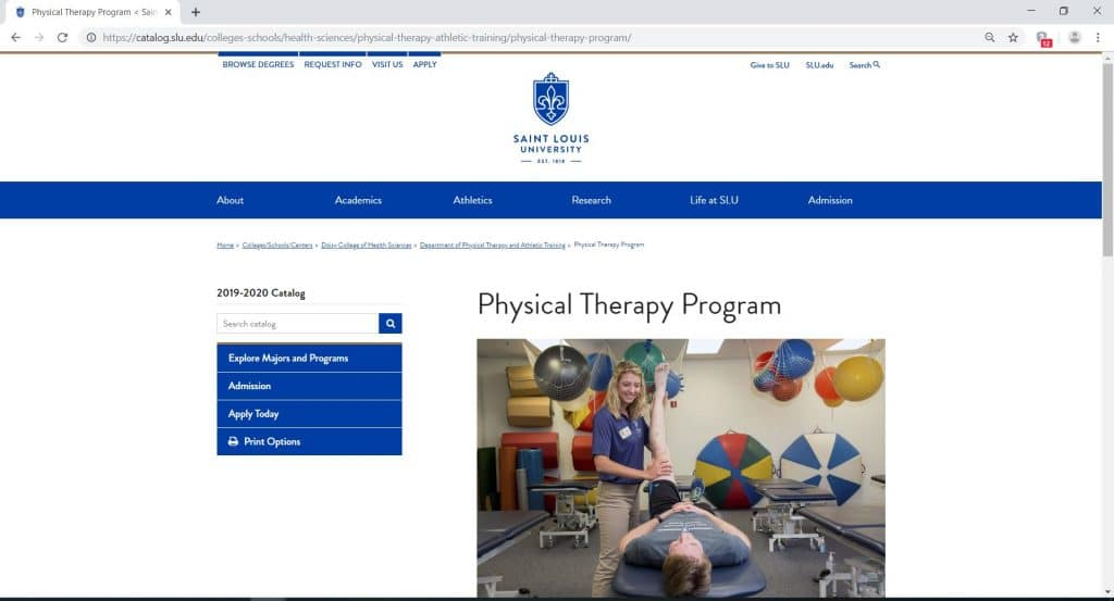 webpage for the physical therapy program of Saint Louis University