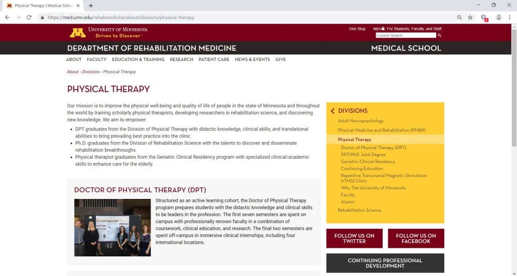 webpage of University of Minnesota for the Division of Physical Therapy